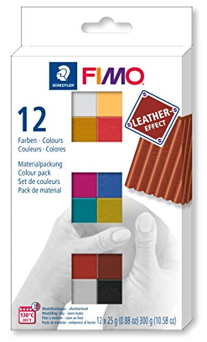 STAEDTLER 8013 C12-2ST Leather Effect  Oven Hardening Modelling Clay, Multicoloured, 12 Halbblöcke