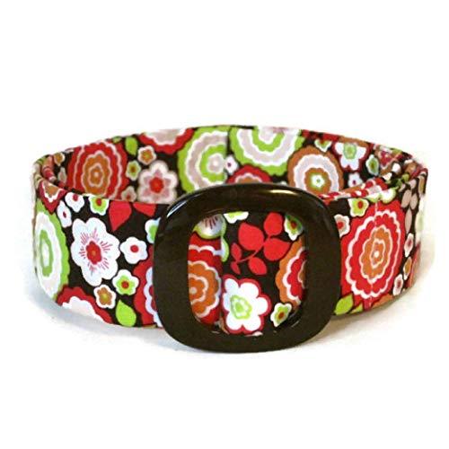 Womens Fabric Belt - D-ring Belt/Brown Fabric Belt/Flowered Ribbon Belt/Cloth Belt Wide Belt Narrow - Bonjour Floral Spree in brown red green
