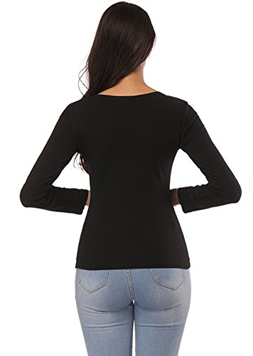 Longues Jumpers Col Slim Sweat Noir Tops et Fashion Onlyoustyle Casual Automne Manches Rond Chemisiers Shirts Shirts Tees Femmes Blouse Printemps T Hauts gYx6avq