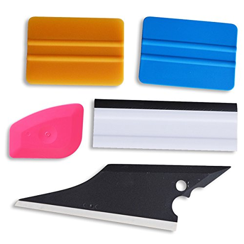 Ehdis!! 5 pcs Installation Tool Kit for Automobile Car Vinyl Film Wrap Trim Window Tint Works, Car Squeegee Set Kit