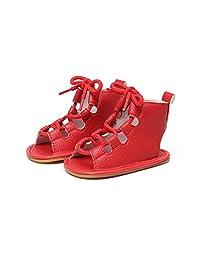 HONGTEYA Lace Up Rubber Sole Summer Baby Girls Gladiator Sandals Moccasins Toddler Infant Shoes