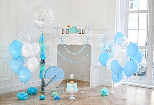 Laeacco Baby Boy's 2nd Birthday Photo Booth Backdrop 7x5ft Vinyl Window Side Fireplace Blue White Balloon Bunches Cake Big Number 2 Paper Poms Wood Floor Background Boy's Birthday Banner Cake Smash
