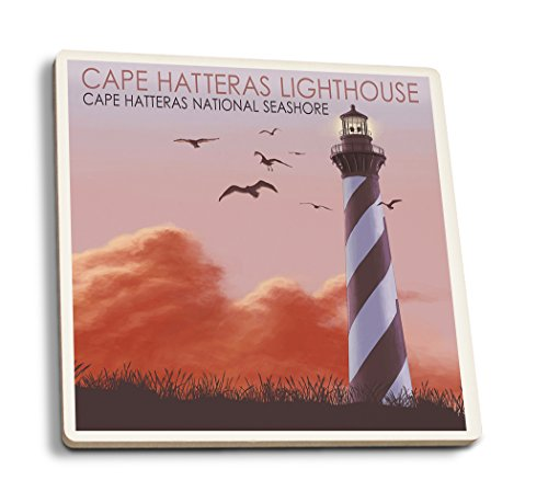 - Lantern Press North Carolina - Cape Hatteras Lighthouse (Set of 4 Ceramic Coasters - Cork-Backed, Absorbent)