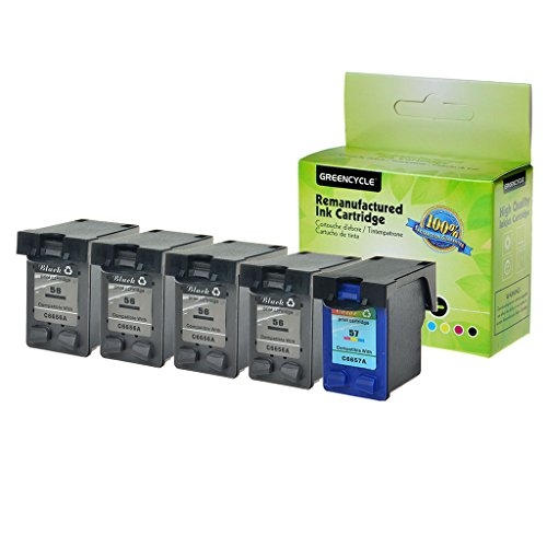 - GREENCYCLE High Yield Remanufactured Ink Cartridge Compatible for HP 56 57 C6656AN C6657AN Deskjet 5150 5150w 5151 5160 5168 5500 5550 5551(4 Black,1 Color)