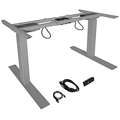 Dual Motor Electric Adjustable Base Height Sit-Stand Standing Desk Frame - Silver + FREE E-Book