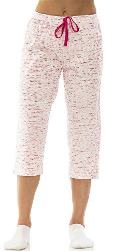 dollhouse (6221DH) Womans Marled Cotton Jersey Capri Lounge Pant Size: Large In Fuchsia (Designer Capri Pants)