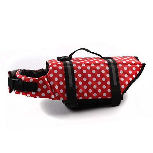 YOIOY Waterproof Dog Rain Coat Adjustable Polka Dot Dog Life Jacket with Handle