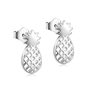 470862c1b Image Unavailable. Image not available for. Color: YFN Sterling Silver  Pineapple Stud Earrings Jewelry ...