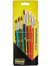 Idena 60103 - zestaw pędzli szkolnych, FSC-100%, zestaw 10 szt. z 6 okrągłymi pędzlami i 4 pędzlami z włosami, lakierowane