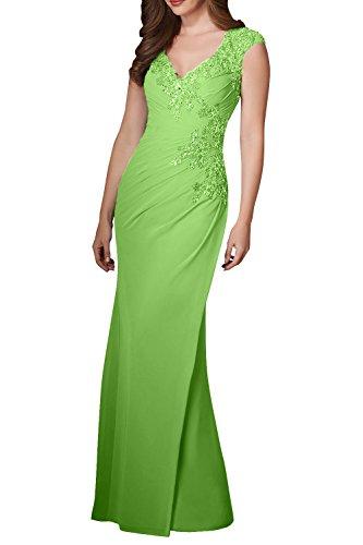 Spitze mit Ballkleider Partykleider Damen Charmant Traube Etuikleider Aermellos Chiffon Grün Abendkleider wAZAzgq8