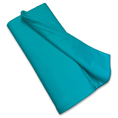 SheetWorld Soft & Stretchy Swaddle Blanket - Teal - Made In USA (Cotton Jersey Receiving Blanket)