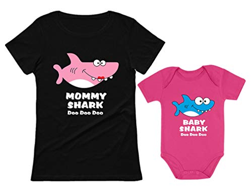 - Baby Shark & Mommy Shark Doo Doo Doo T-Shirt Bodysuit Set for Mother and Baby Mommy Black Medium/Baby Wow Pink 12M (6-12M)