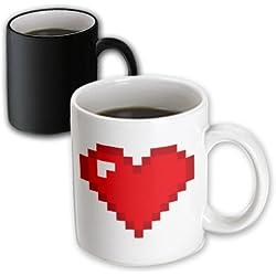 3dRose Geeky Old School 8-Bit Pixel Pixelated Heart Graphic Magic Transforming Mug, 11-Ounce