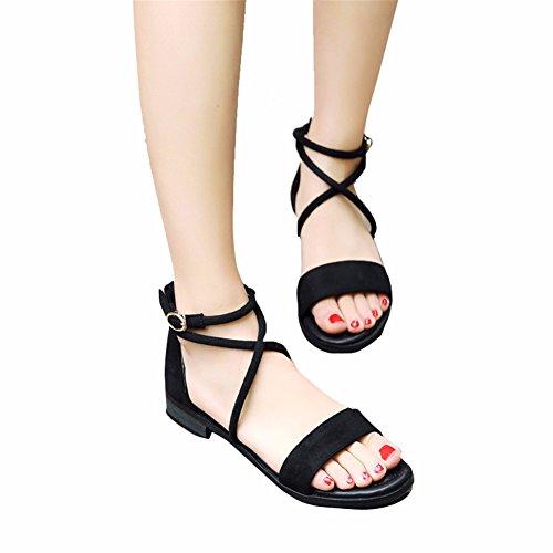 7f8a7d3bb2a Chic YUCH Zapatos De Mujer Verano Vendaje Transversal Plana Sandalias  Informales