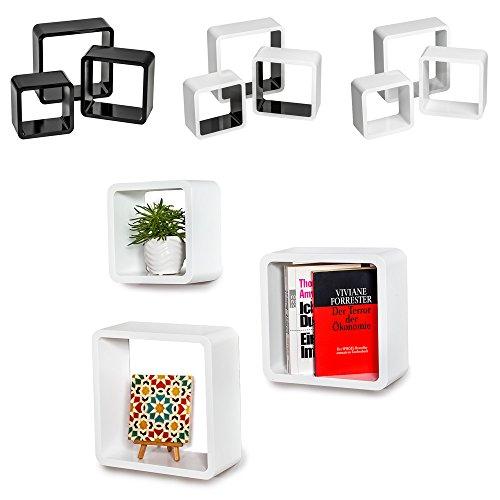 TecTake 3er Set Wandregal Hängeregal Cube Lounge CD Retro Regal - diverse Farben - (Weiß | Nr. 401589)