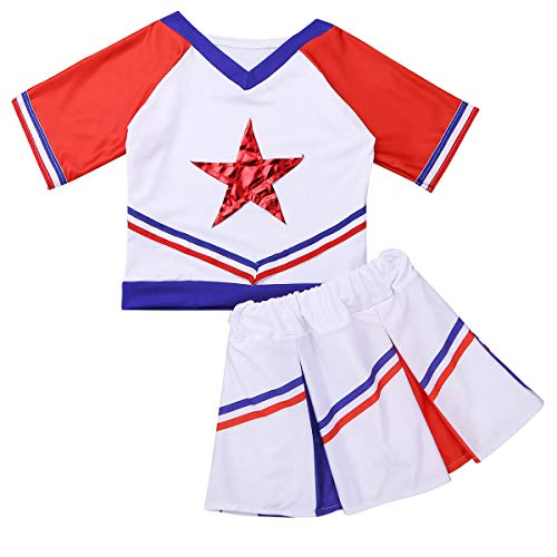 MSemis Girls Cheer Leader Costume Top Skirt Socks Cheerleading Uniform Cosplay Performing Dancewear White&Red 3-4 -
