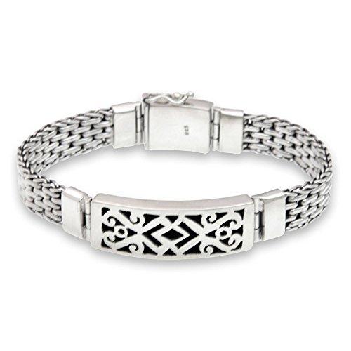 NOVICA .925 Sterling Silver Men's Woven Chain Link Bracelet, 8.5