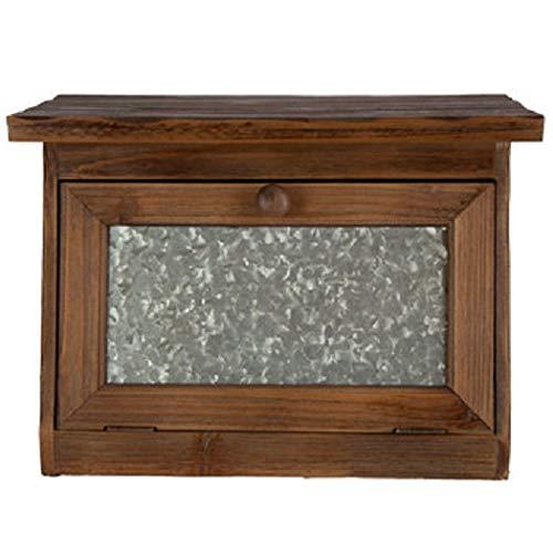 (Generic Farmhouse Bread Box for Kitchen Counter - Rustic Wood Bread Bin Storage,Grey Metal)