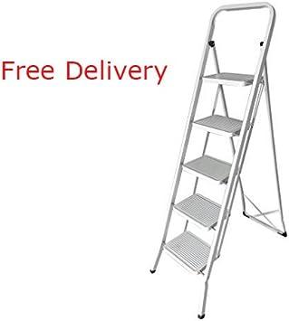 Escalera, hehi Lark Iron de escalera plegable, 5 peldaños, seguro para plegar, fácil de guardar, soporta hasta 150 kg: Amazon.es: Bricolaje y herramientas
