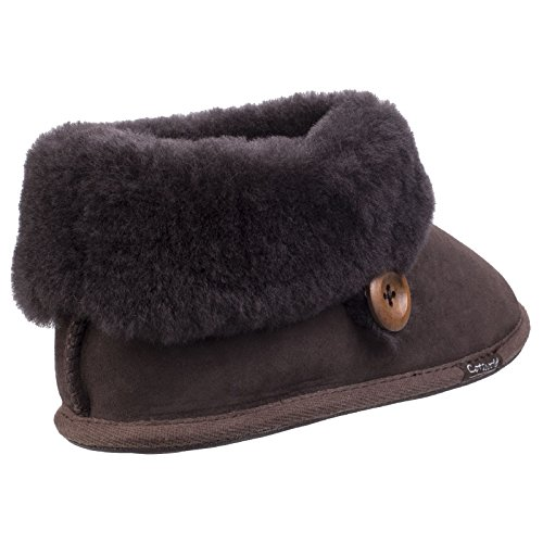 Cotswold New Ladies/Womens Chocolate Wotton Bootie Sheepskin Slippers - Chocolate - UK Size 7 igSYw9