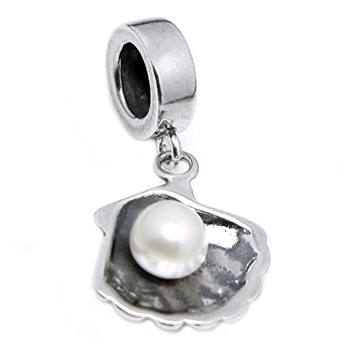Sterling Silver Sea Shell and Freshwater Cultured Pearl Dangle European Style Bead Charm (4.5-5mm) ()