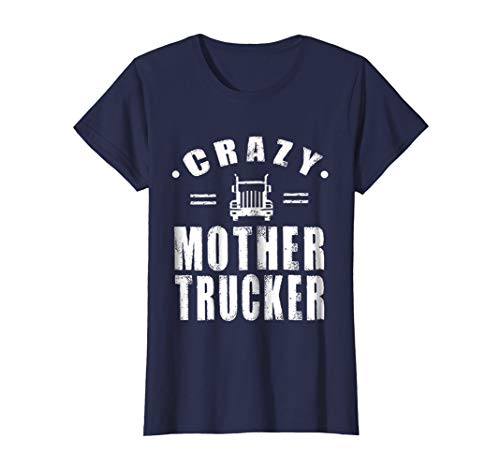 Womens Funny American Trucker Shirt, Crazy Mother Trucker T shirts Small Navy ()