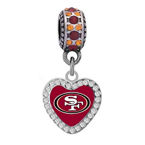 Final Touch Gifts San Francisco 49ers Rhinestone Heart Charm Fits European Style Large Hole Bead (Crystal San Francisco 49ers Bracelets)