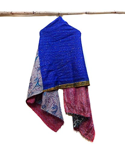 Silk Kantha Scarf Neck Wrap Stole veil Hijab Scarves Reversible Sew Long