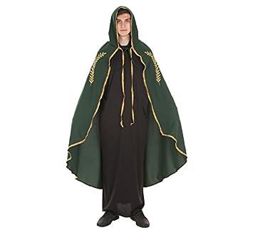 Capa Medieval Mariana Verde Bordado Oro para adultos