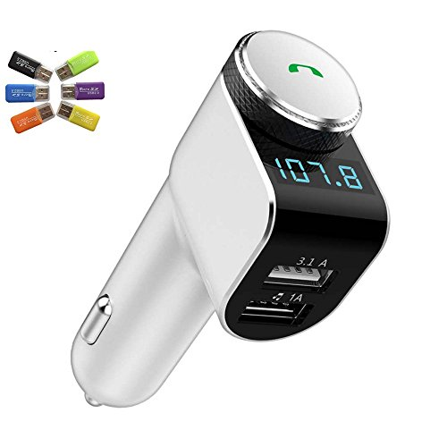 Quick Smart Car Charger Wireless In Car Bluetooth FM Transmitter Radio Adapter, SmartCharge Car Locator, Dual USB MP3 Player Built-in Microphone Hands Free Call