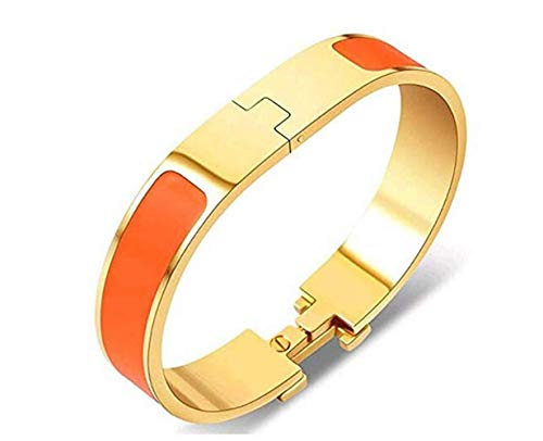 Fashion Titanium Steel Bracelets Buckle Bangle Love Bracelet Enamel Bracelet Jewelry for Women(orange/gold12)