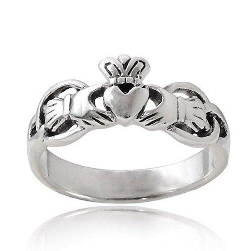 Chuvora 925 Sterling Silver Claddagh Friendship and Love Polish Finish Band Ring - Size 7