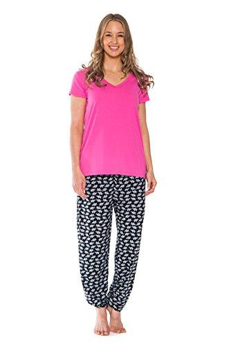 Patricia Women's Elephant Print Spring V-Neck & Pajama Pant Set (Pink, Medium)