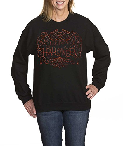 Amy Alder Happy Halloween Sweatshirt Crew Neck Costume Spider Web, Black, L (Hocus Pocus Costume Shop)