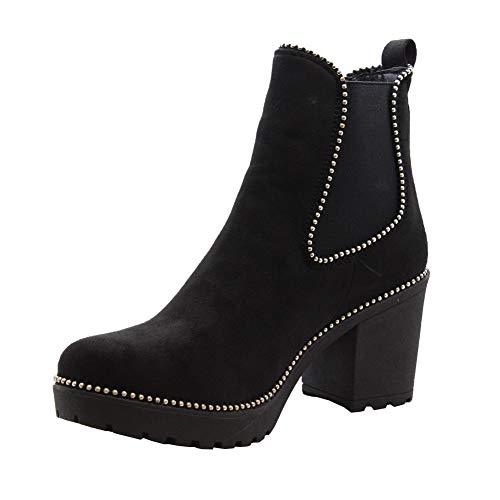 Bureau Chaussures Dames Des Clouté Taille Noir Bloc Bottines Chelsea 36 Femmes 41 Mi Daim Chunky Styles Talon Saute UqvwBB
