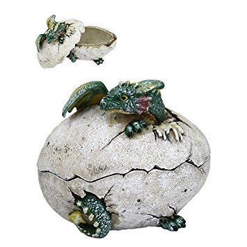 5 Inch Dragon Hatchling Cracked Egg Jewelry/Trinket Box Figurine