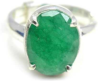 Jewelryonclick Sterling Silver Prong Adjustable 5.5 Carat Emerald Ring For Women