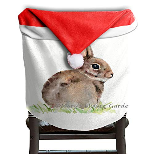 (OuLian Christmas Hat Chair Covers Rabbit Oil Painting Chairs Back Cover Slipcovers Kitchen Sets for Holiday Decorations)