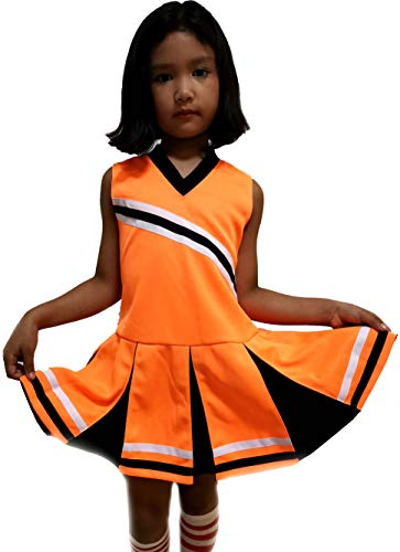 Little Girls' Children Kids Dress Cheerleader Cheerleading Sport School Uniform Costume Neon-Orange/Black (S / 2-5) -