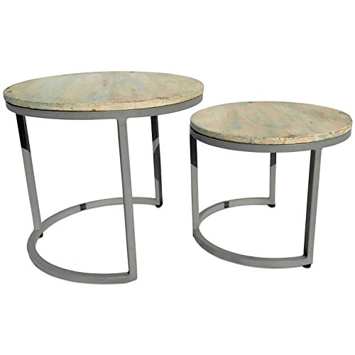 "The Cape Cod Nesting Tables, Set 2, Rustic Modern, Pastel Patina, Creamy White Pale Blue, Driftwood Gray Iron C Base, Sustainable Wood, Distressed Repurposed Style, 21″ and 17 1/2"" Diameter"