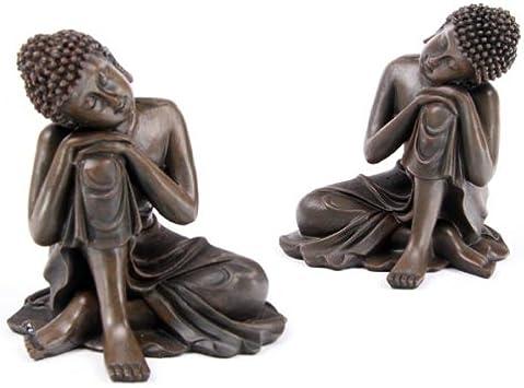 Bois marron R/ésine Lot de 2/figurines d/écoratives de Bouddha tha/ï au repos Marron effet bois
