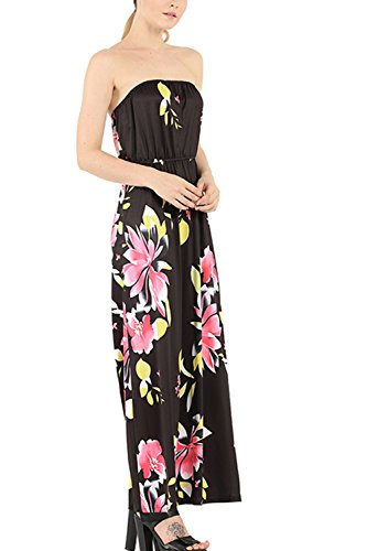 Frauen Floral bedruckt kalte Schulter lange Party-Kleid