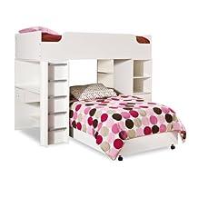 South Shore Furniture Complete Loft Bed, Logik/Sand Castle Collection, Pure White