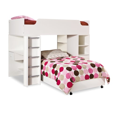 Ensembles Furniture Veneer (South Shore Complete Loft Bed, Logik/Sand Castle Collection, Pure White)