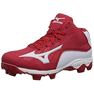 Mizuno 9 Spike ADV Yth FRHSE8 MD RD-WH Youth Molded Cleat (Little Kid/Big Kid), Red/White, 6 M US Big Kid
