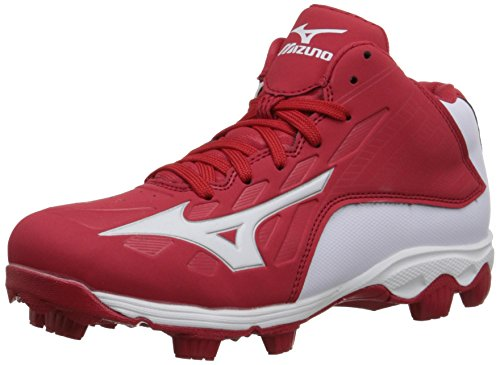 Mizuno 9 Spike ADV YTH FRHSE8 MD RD-WH Youth Molded Cleat (Little Kid/Big Kid), Red/White, 1 M US Little Kid