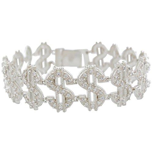 14k White Gold Radiant White CZ Money Sign Links Hip-hop Bracelet by Jewelry Liquidation