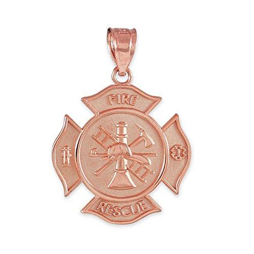 10K Rose Gold Fire Rescue Maltese Cross Firefighter Badge Pendant