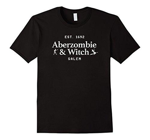 Mens Aberzombie and Witch - EST 1692 Salem Cute Shirt Large (Cute Witch)