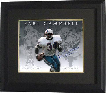 Athlon CTBL-BB15816 Earl Campbell Signed Houston Oilers - Texas Longhorns Photo Custom Framed Career Collage - Heisman - Hof - 16 x 20